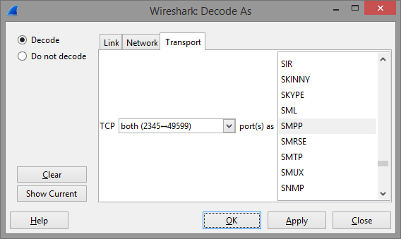 Wireshark decode as dialog screenshot