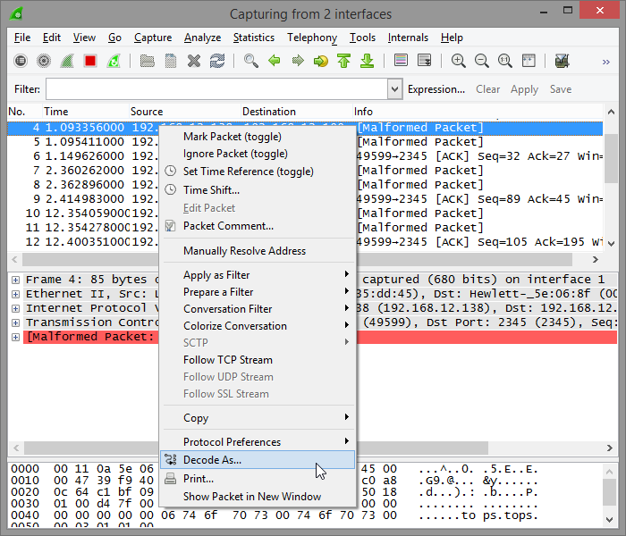 Wireshark decode as screenshot