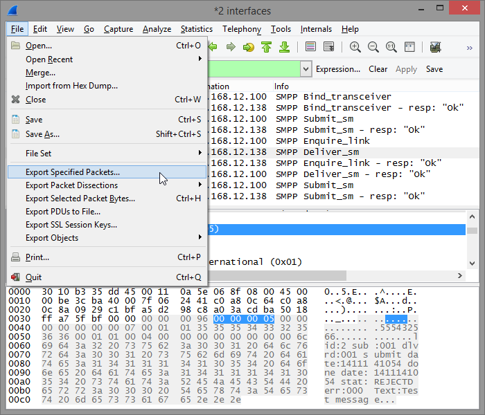 Wireshark export menu screenshot