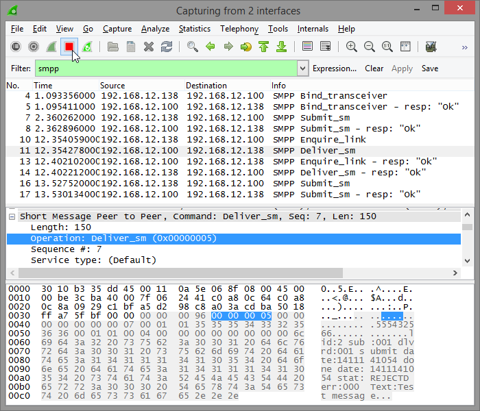 Wireshark capture stop screenshot